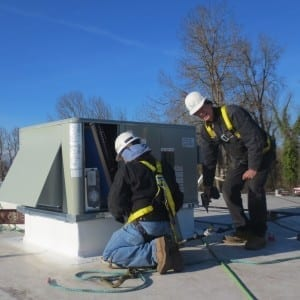 efficiency heating and cooling roof top unit installation 300x300 1